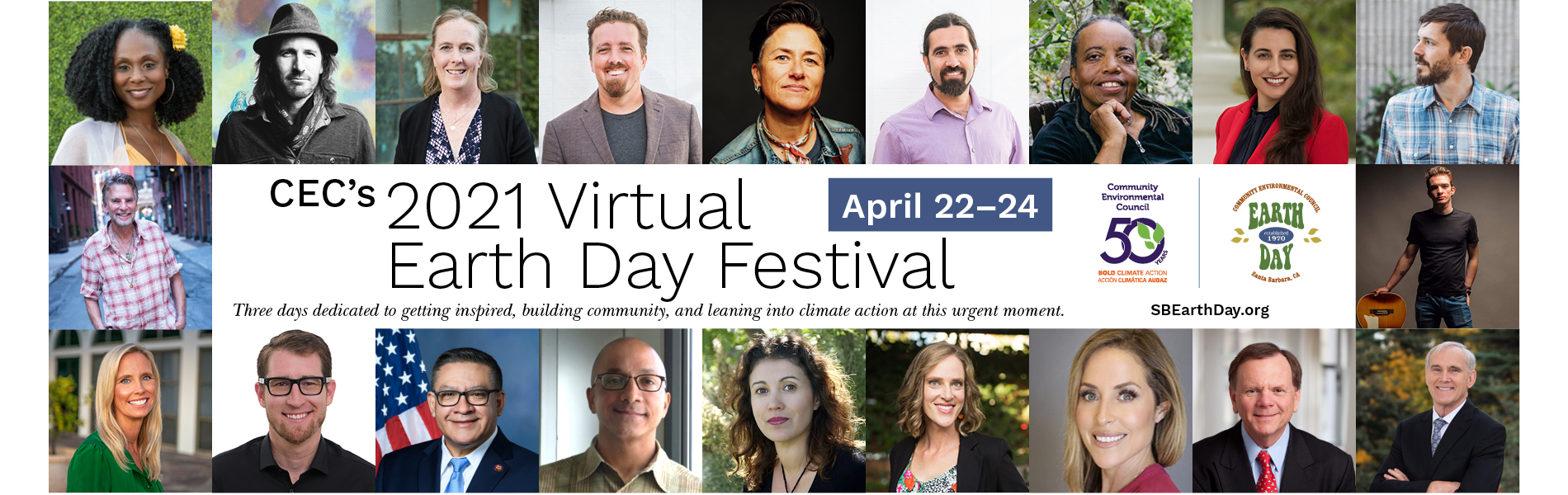 earth day festival banner with pictures of speakers and performers